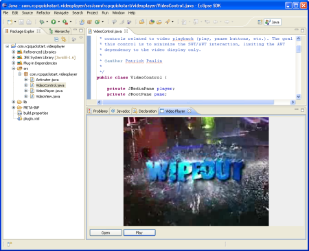 Video playing inside the Eclipse IDE